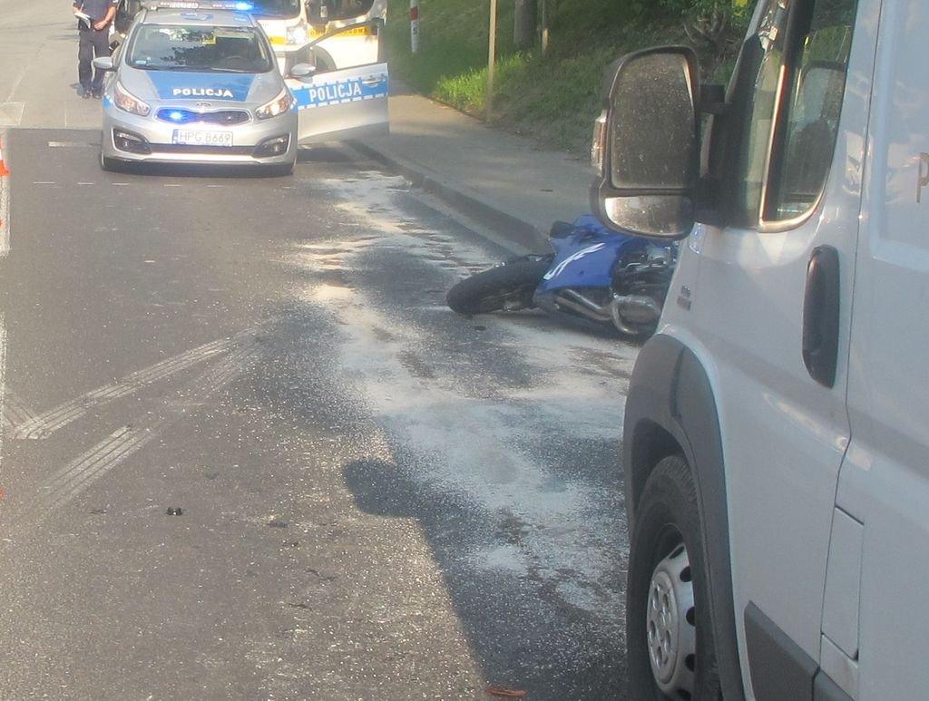 Fiat uderzył w motocykl