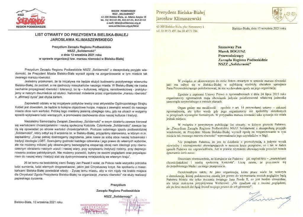 """Prezydent miasta punktuje pismo związkowców """"Solidarności"""". Chodzi o tzw. marsz równości [AKTUALIZACJA]"""