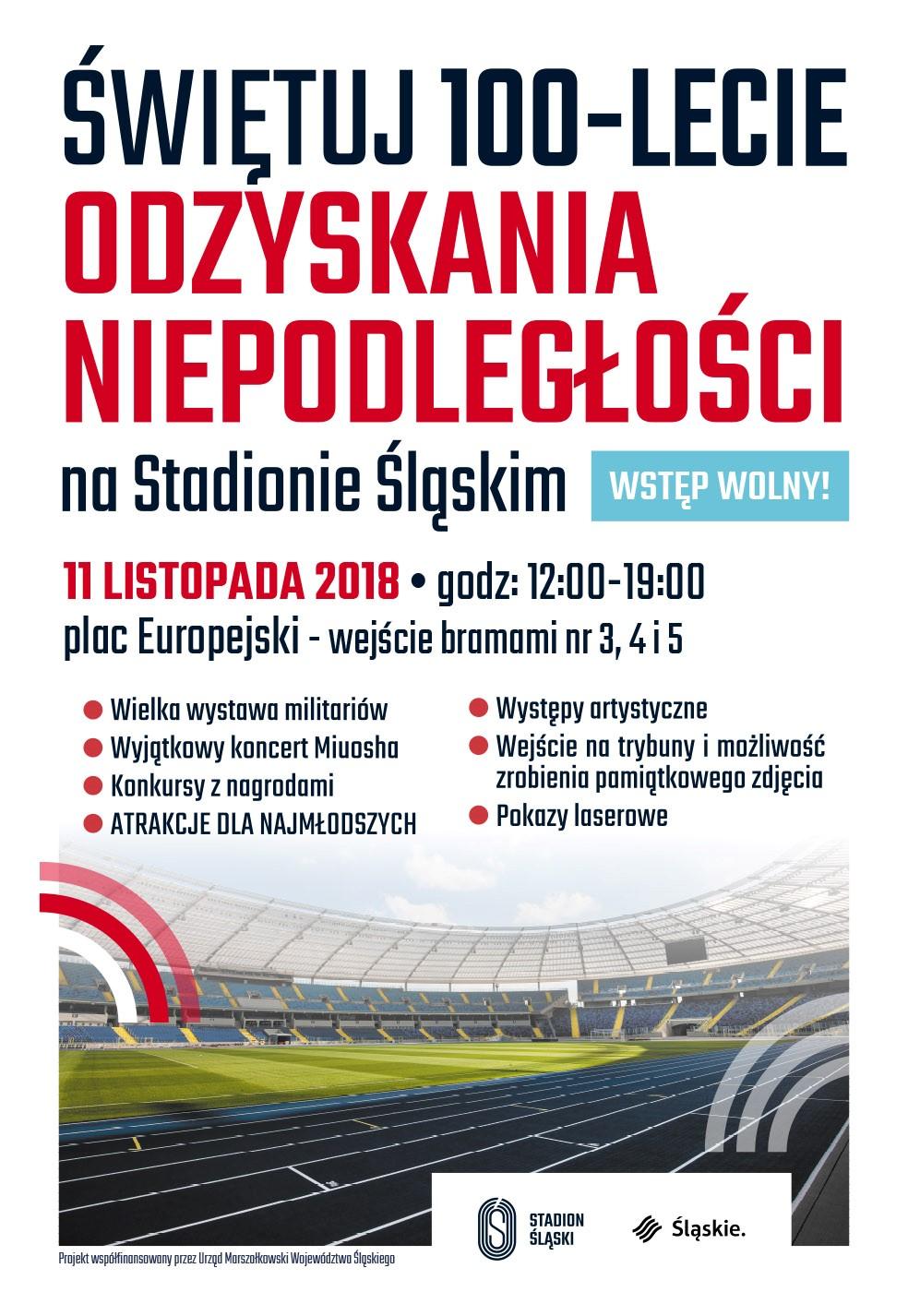 Świętuj 100-Lecie Odzyskania Niepodległości Na Stadionie Śląskim